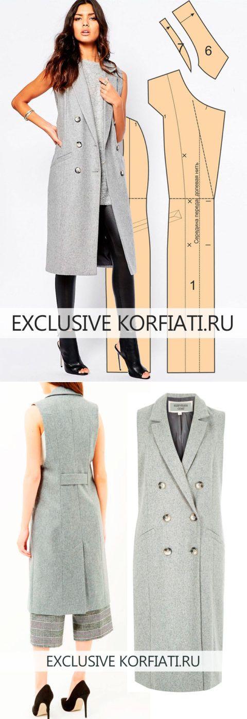 Выкройка пальто без рукавов от Анастасии Корфиати