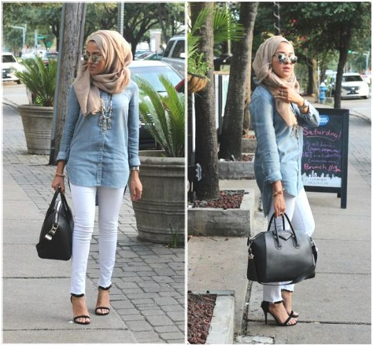 denim shirt white jeans outfit