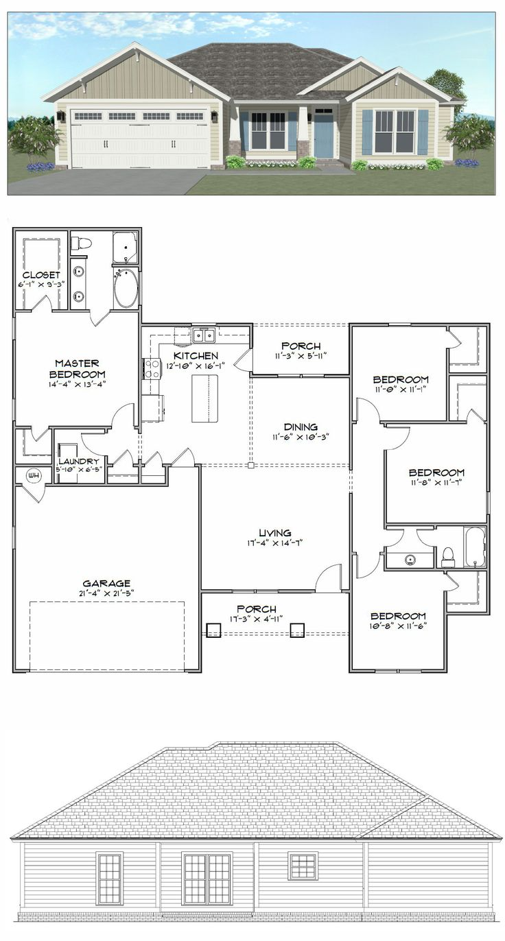 Plan sc1686 595 4 bedroom 2 bath home with 1686 of heated square