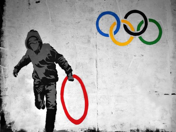 Banksy Canvas READY TO HANG  Olympic Thief  by daveyknew84 on Etsy