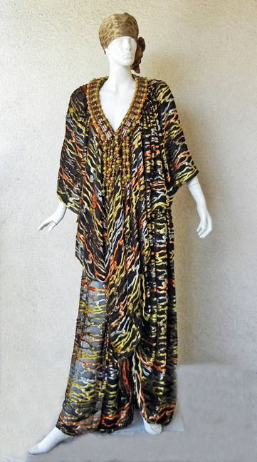 One-of-a-Kind Haute Couture Paco Rabanne 70's Jeweled silk velvet Caftan | From a collection of rare vintage evening dresses at https://www.1stdibs.com/fashion/clothing/evening-dresses/