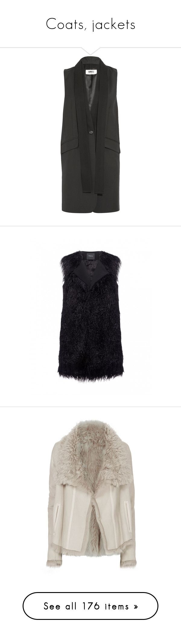 """Coats, jackets"" by bliznec ❤ liked on Polyvore featuring outerwear, vests, black, drapey vest, long line vest, mm6 maison margiela, woolen vest, wool vest, theory vest and fur waistcoat"