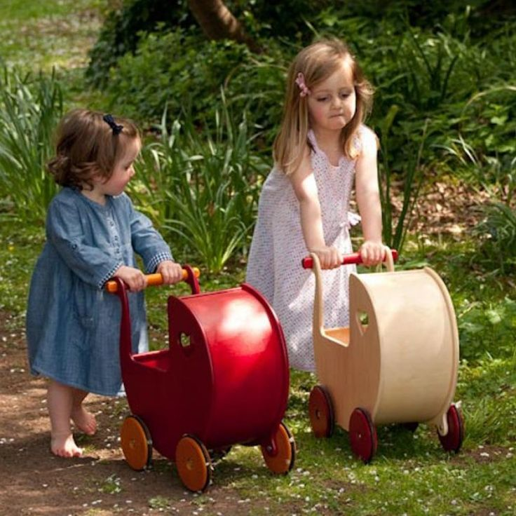 Eve's toy shop | Doll Prams and Accessories - Wooden Pram Natural by Moover. Only £59.95