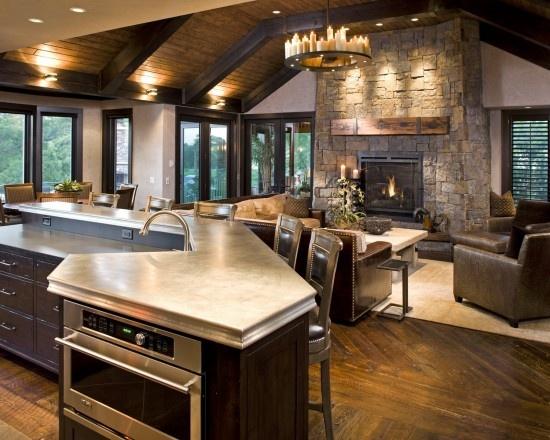 open floor plan: Living Rooms, Dreams Kitchens, Open Floors Plans, Home Interiors Design, Families Rooms, Open Kitchens, Design Home, Traver Cities, Rustic Home Interiors
