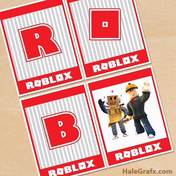 Free Printable Roblox Alphabet Banner Pack Roblox Computergame Videogame Freeprintables Printable Party Printables Free Roblox Gifts Robot Birthday Party