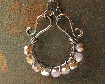 Beaded hoop earrings blush pink honey faceted Czech glass beads copper wire wrapped