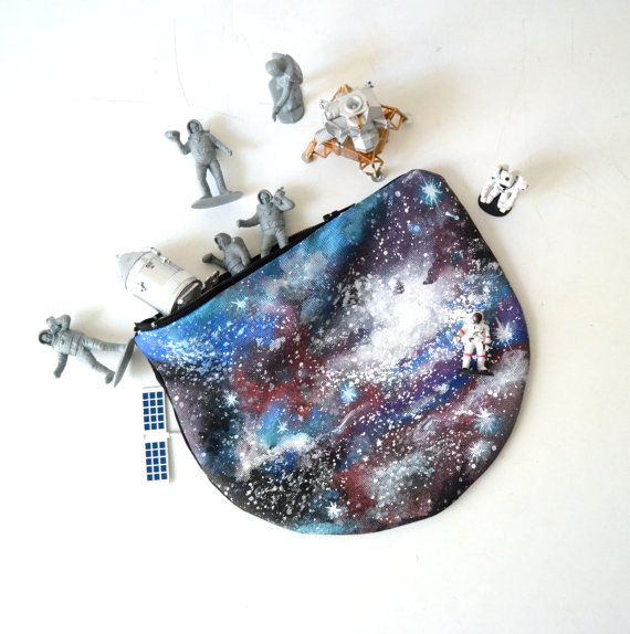 Hand Painted Galaxy Canvas Pouch Coin Purse by BarbaLeatherStudio