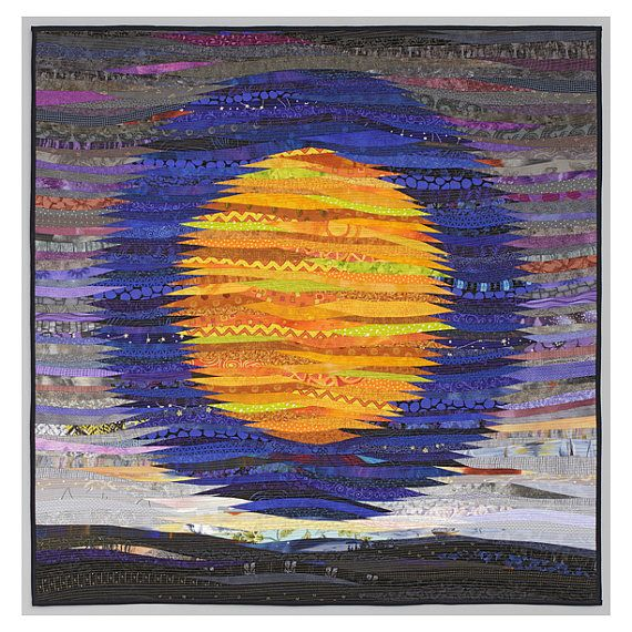 I love it when a new quilt haunts me. There is a story here I cannot quite glimpse. The moon over the desert. Or is it an ocean scene? I call it abstractions on the night. Art quilt. Abstract textile art. 40 x 40 in. Modern by AnnBrauer #shelburnefalls #finecraft #artquilt