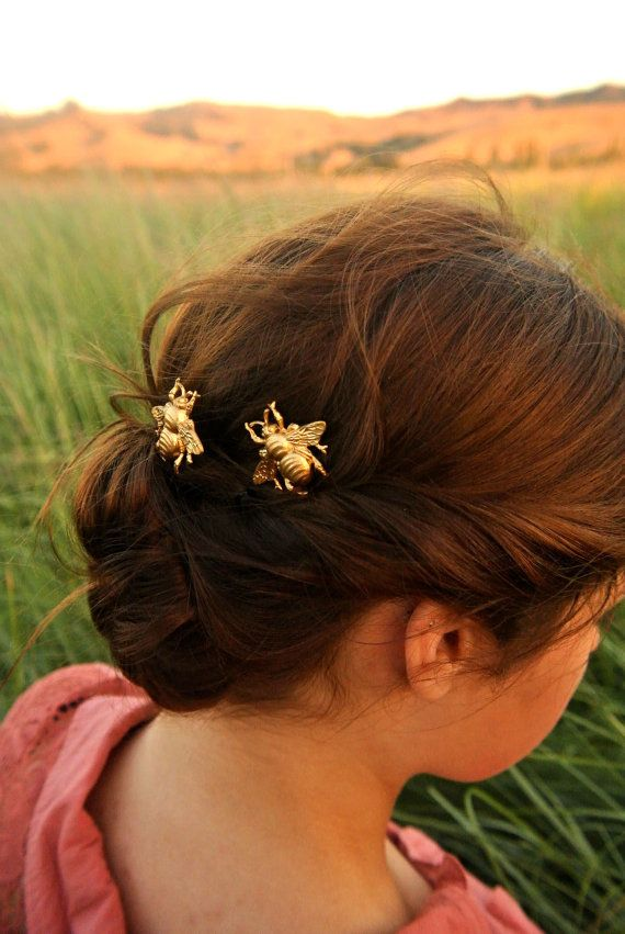 Gold bee hair pins. Adorable bumble bee bobby pins ready to add some absolutely adorable fun to your Summer hair! Beautiful raw gold brass set upon a
