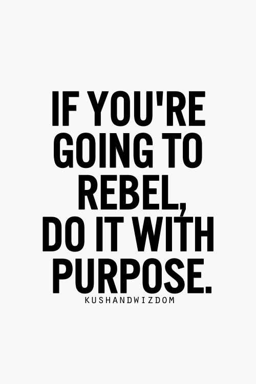 if you're going to rebel, do it with purpose. #leadership #success #takerisks www.ingredientsofoutliers.com