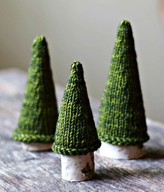 For a hand-knitted forest, just add paper cones. #etsyfinds #DIY