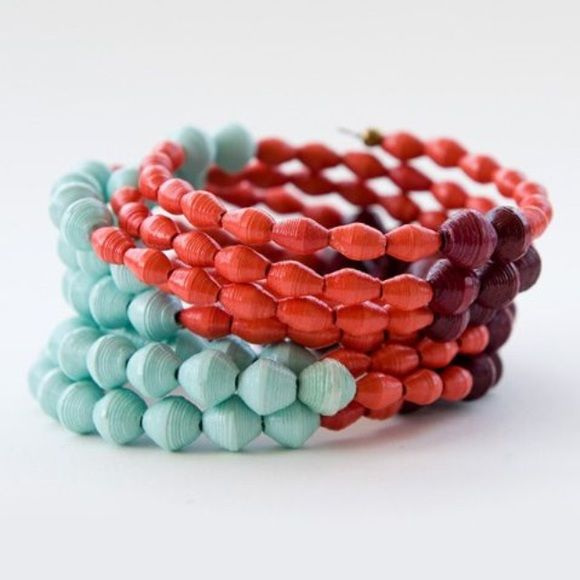 Noonday Collection Doreen Colorblock Cuff Paper bead bracelet in mint, coral, and burgundy. Ethically made in Uganda. Noonday Collection Jewelry Bracelets