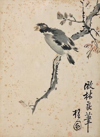 (Korea) Flowers & Bird by Danwon Kim Hong do (1745-1806). color on paper.  Danwon Museum, Korea.