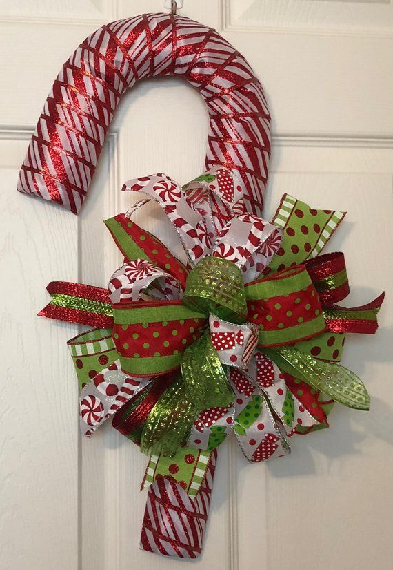 Christmas Candy Cane Wreath Striped Candy Cane Wreath Christmas Candy Cane Door Hanger