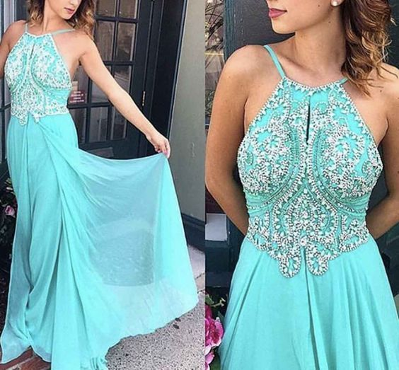Popular Halter Beaded-Bodice Long Chiffon Prom Dress,Prom Dress for Juniors ,Long Homecoming Dress,Evening Gowns,Formal Evening Dress,Long Party Dress,Dress for Special Occasion