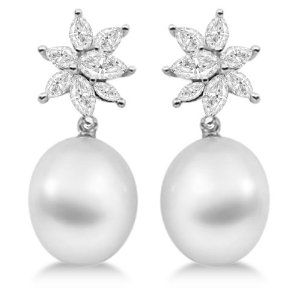 Ladies Paspaley South Sea Cultured Pearl and Diamond Star Shaped Earrings 18K Palladium 12mm