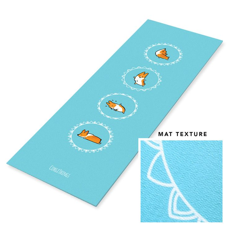 """Blue Corgi Yoga Mat 