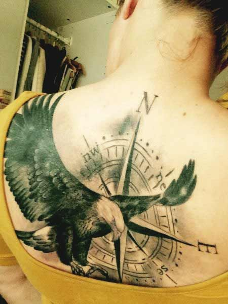 fe2dd062c30de 50 Amazing Perfectly Place Eagle Tattoos Designs With Meaning. Flying eagle  spreading wings