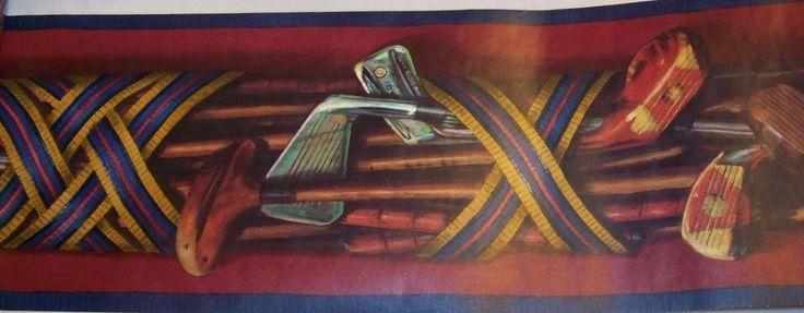 Raymond Waites Vintage Golf Clubs Wallpaper Border 3 rolls 45 ft 593865 Village #VillageRaymondWaites