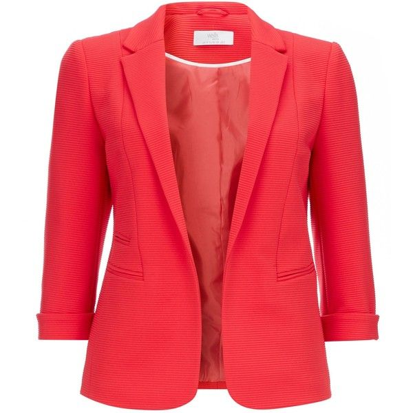 Women's Blazer at House of Fraser ❤ liked on Polyvore featuring outerwear, jackets, blazers, house of fraser, blazer jacket, red blazer jacket, red jacket and red blazers
