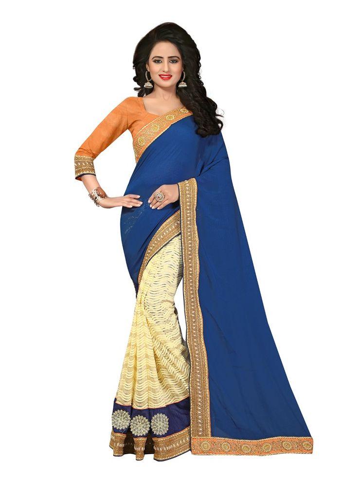 Buy Apparels- Navy Blue and Cream Colour Party Wear Half Half Saree