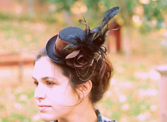 Steampunk Peacock Feather Mini Top Hat Fascinator Steampunk Top Hat