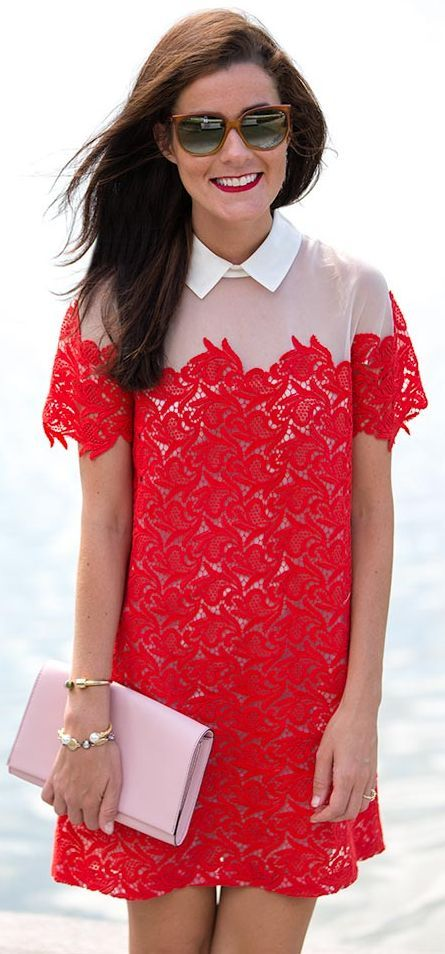 Poppy Red Lace And White Collar Shift Little Dress by Classy Girls Wear Pearls