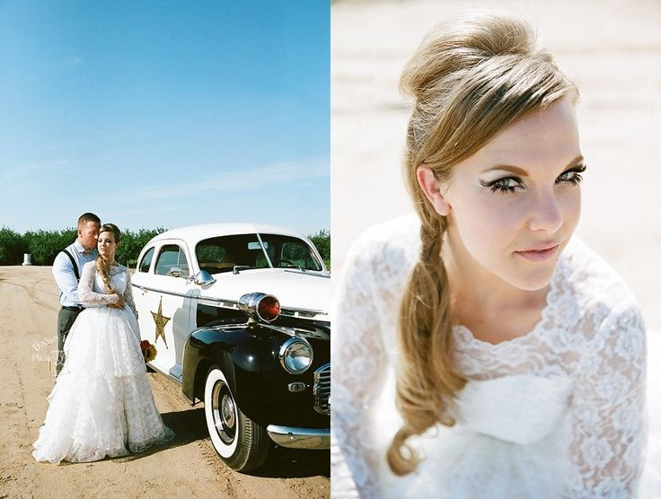 Bride with vintage hair and makeup in Manteca, California