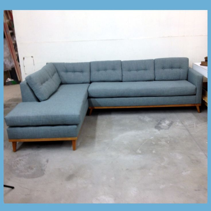 Light Blue Mid Century Modern Sectional With Danish Frame. Chesterfield  Tufted Leather Sofa Custom