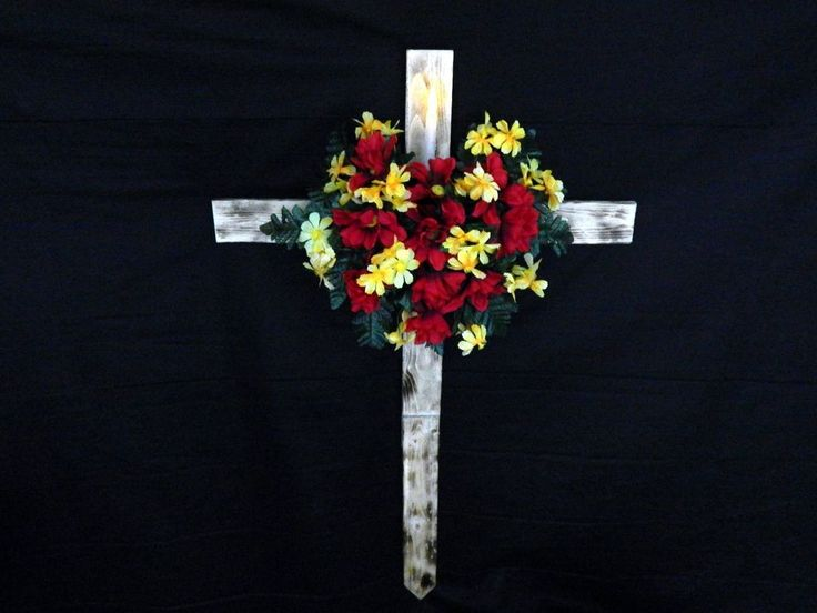 Cemetery Flower Roadside Memorial Cross With Solar Light Flickering Candle