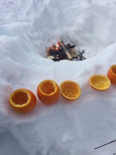 Muffins i appelsin med fruktnøtt på bål