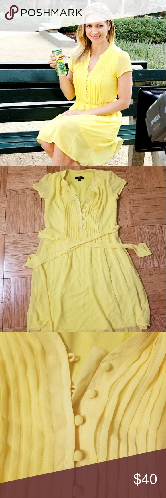 Brittany Snow's Actual Lipton Yellow Dress! An adorable, bright yellow sundress that Brittany Snow wore during her Lipton Sparkling Iced Tea commercial a year ago.  My company worked on the shoot, so, yes, this is the actual dress.  Only been worn once and in great condition, minus a few wrinkles from being in my closet.  Super cute and great for summer! JBS Petite Dresses Mini