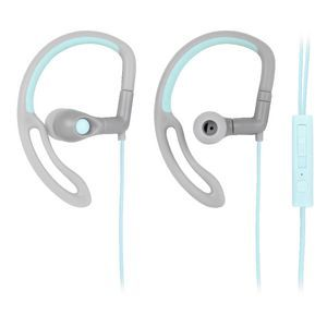 Qudo Sports Hook Earphones with Control Grey Teal Officeworks $19.88