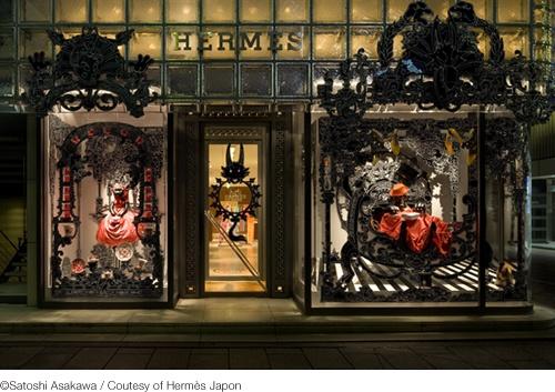 Nicolas Buffe, window display at Hermès, Tokyo: Buff 联手推出限量版围巾, Window Displays, Nicolas Buff, Hermè 与艺术家, 与艺术家 Nicolas