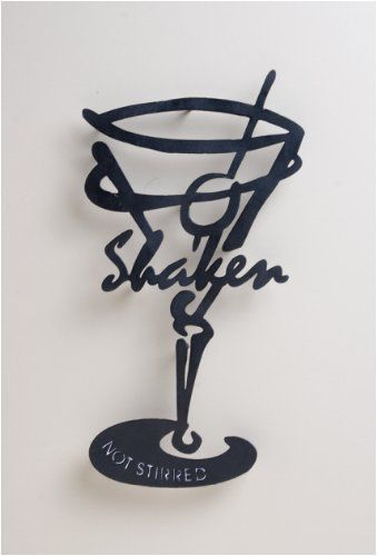 Martini Glass Silhouette Wall Art Shaken Not Stirred By Evergreen