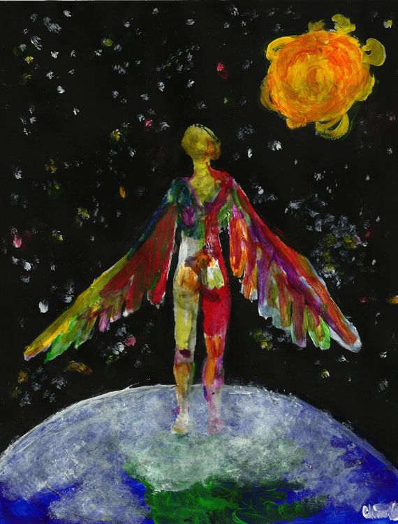 Technicolor Icarus Greek Mythology Painting Abstract Art Print on Etsy, $3.00