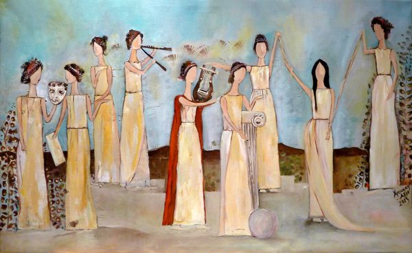 The Nine Muses by Aspa Chroneou | Oil on canvas | 1.10 x 0.55m
