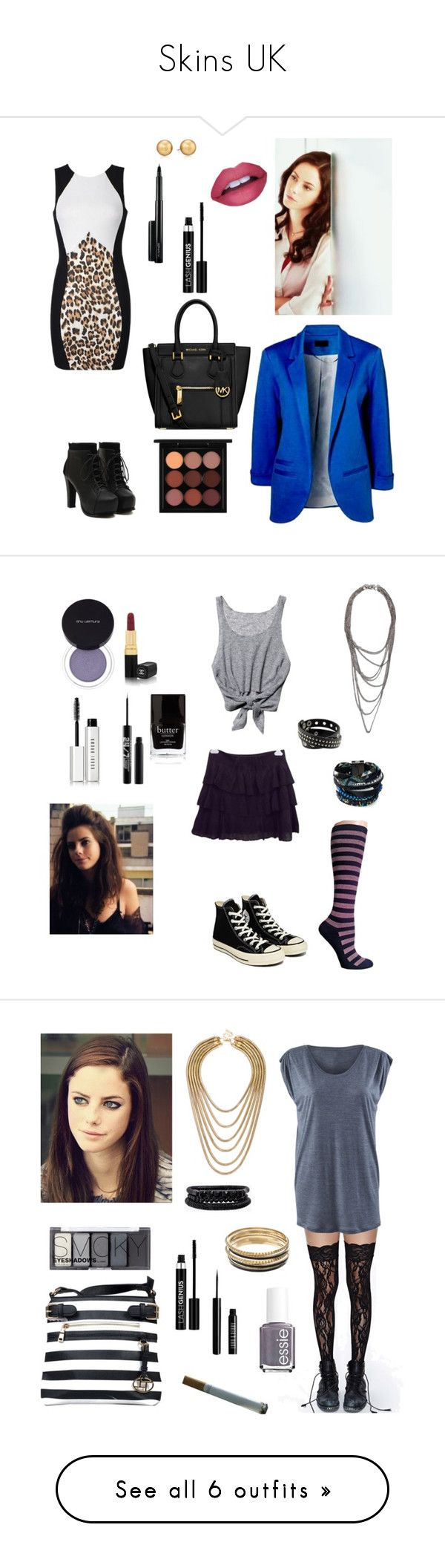 """""""Skins UK"""" by youmydecoy ❤ liked on Polyvore featuring Ally Fashion, Effy Jewelry, Carolee, MAC Cosmetics, Anastasia, MICHAEL Michael Kors, Free People, Chanel, shu uemura and Legale"""