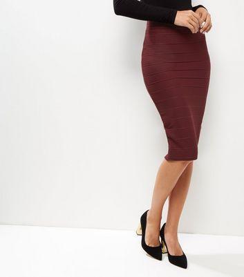Burgundy Bandage Pencil Skirt