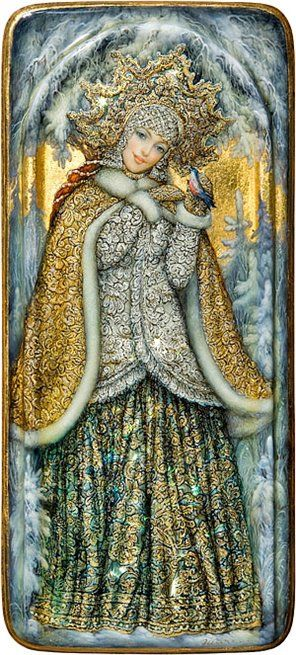 Russian lacquer miniature from the village of Fedoskino. Snegurochka (Snow Maiden) is a character of Russian traditional tales.