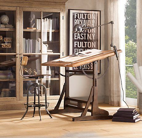 1920s French Drafting Table... must have this: Restoration Hardware, Art Studios, Work Spaces, Workspaces, Industrial Chic, Desks, French Drafting, Drafting Tables, Home Offices
