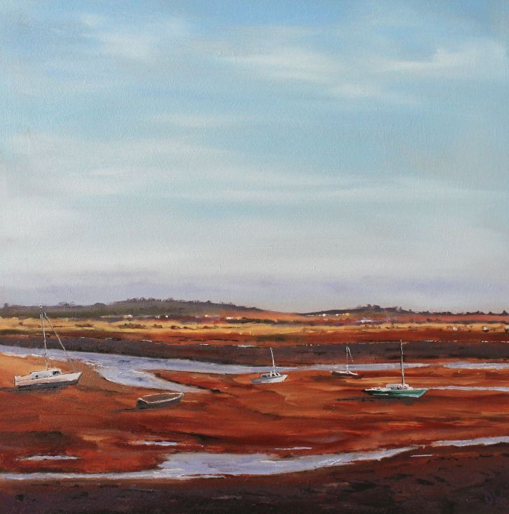 ARTFINDER: Wells Next To Sea, Low Tide by Dan Wellington - No.8 of 12 from the 'Norfolk: Impressions' collection. Paintings inspired and influenced by the North Norfolk coast. Framed (Walnut finished, with gold sty...
