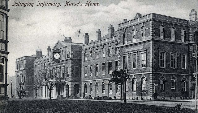 The Islington Infirmary was opened in 1900 as the Highgate Hill Infirmary for the workhouse, and was renamed Islington Infirmary in 1914 (those dates are according to the history on the net; this card was posted in 1904). Part of the Whittington Hospital,. the Nurses Home was still in use as offices when the Lost Hospitals website last checked.