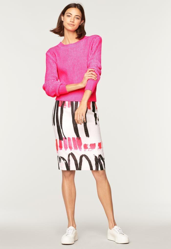 d6c244bedc8313 Modern Scribble Print Classic Midi SkirtThe best of womens fashion