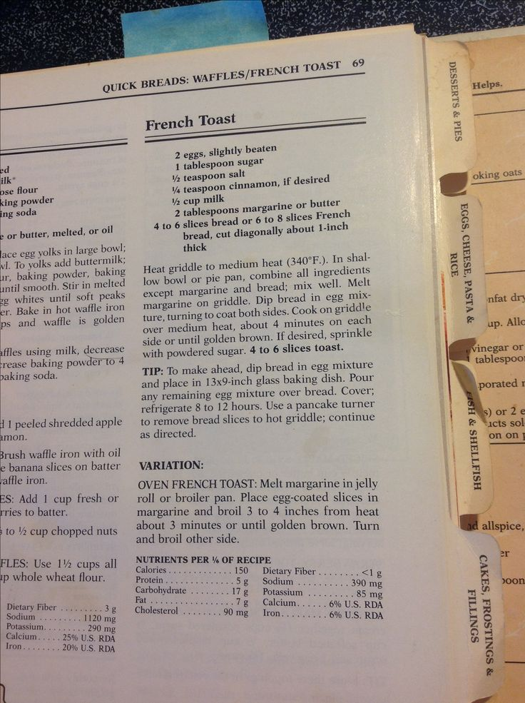 French toast from the Pillsbury cookbook