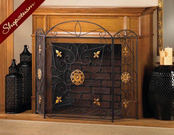 Black Gold Splendor Fireplace Screen Embellished Gold Ornaments