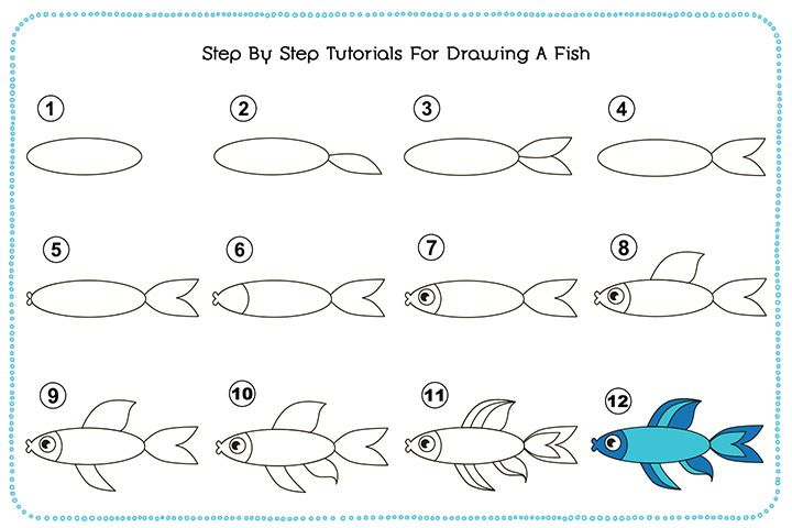 step by step how to draw a fish