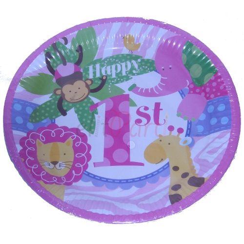Karton Tabak Kız Çocuk 1 Yaş Doğum Günü 8'li - 5.99 ₺