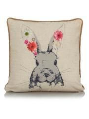 George Home Sketchy Rabbit with Flowers Cushion 43x43cm