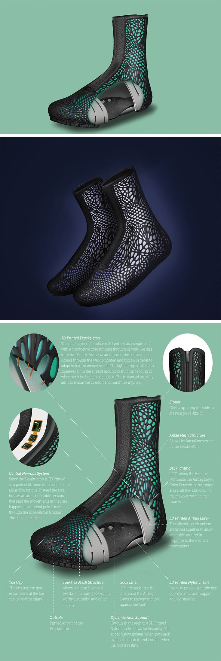 Designed entirely by humans and manufactured entirely by robots, the ADAPTIV shoe is literally the future. With absolutely no human intervention in the manufacturing process, ADAPTIV is completely made by 3D printing robots. What's more special is the fact that ADAPTIV is built with multiple gyroscopes and pressure sensors. The ADAPTIV Shoe is a winner of the Red Dot Award for the year 2017.